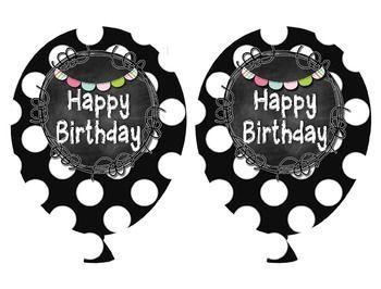 Black and White Chalkboard Birthday Balloons