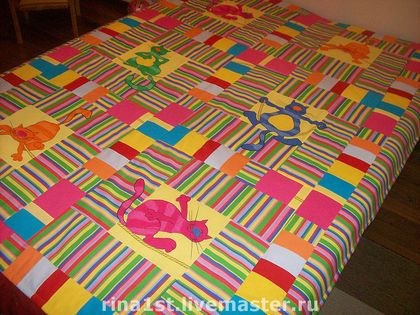 """лоскутное одеяло """"радужное настроение"""" - плед,яркое,ярко,радуга,радужный кот"""