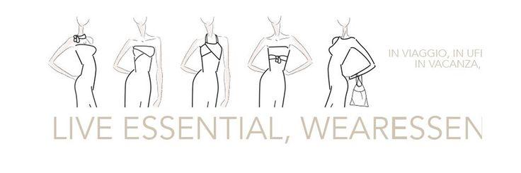 L'abito multiuso passe-partout nel guardaroba di ogni donna #essential. Un solo abito, tante proposte di stile tutto made in Italy. L'abito è inserito in un elegante pochette multiuso dello stesso tessuto. Ideale da mettere in valigia per viaggi di lavoro o in vacanza. #WearEssential #7in1 #Moda