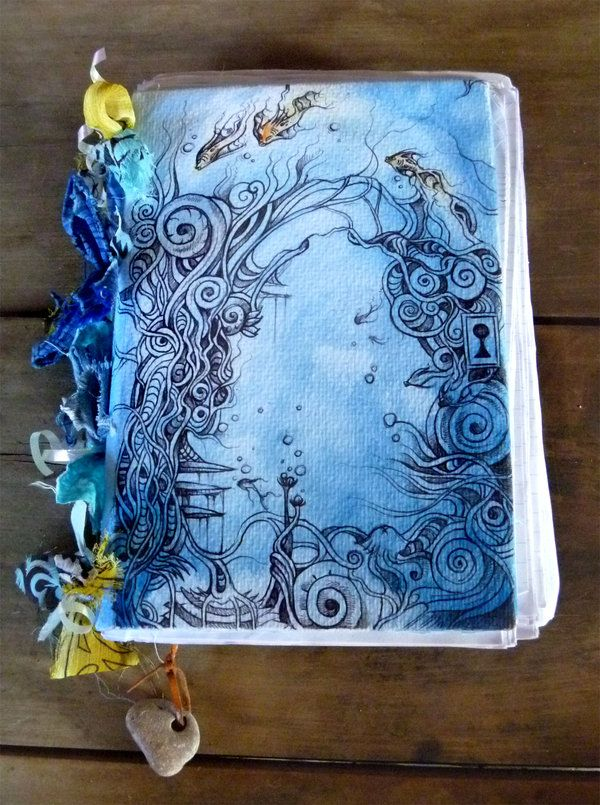 art journal - mixed media - cover - by *Crowandthefox on deviantART. Beautiful work. Lots of covers to see