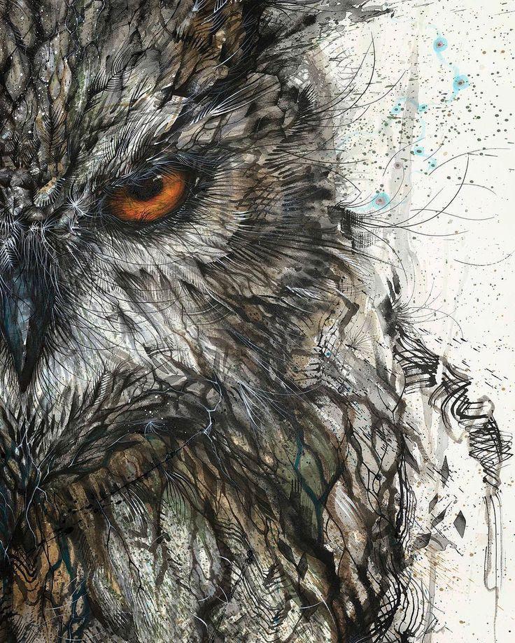Hua Tunan ~ Owl (ink)