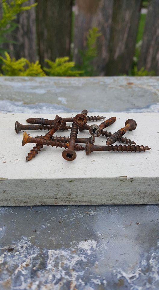 Lot de 12 vis rouillées, recyclées et droites.  Parfaites pour fixer des poignées vintage ou anciennes ou encore dans l'installation d'affiches de métal de l'époque rétro à rustique.