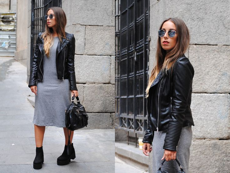 #mididress #rocker #style #trends #chelseaboots #bikerjacket #outfit #look #night #fall #streetstyle #casual #chic #fashion #mode #moda #blogger #spain #trendencies