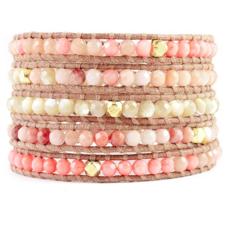(http://www.chanluu.jp/wrap-bracelets/salmon-coral-peach-wrap-bracelet-on-beige-leather/)