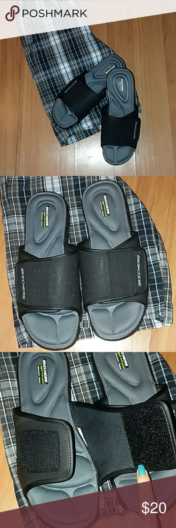 Men's Skechers Sandals Black on gray mens Windswell Skechers sandals. These are in like new condition! Worn only for a few hours! Too wide for my bf's narrow feet. Velcro closure and gel infused memory foam sole. I put my foot in them and they are sooo comfortable! Fit true to size. Skechers Shoes Sandals & Flip-Flops