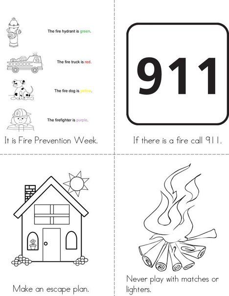 Fire prevention week mini book from for Free printable fire prevention coloring pages