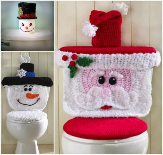 Christmas Crochet Toilet Seat Covers