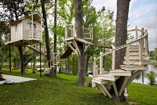 Tree houses, outdoor playhouses, and convertible garden sheds!