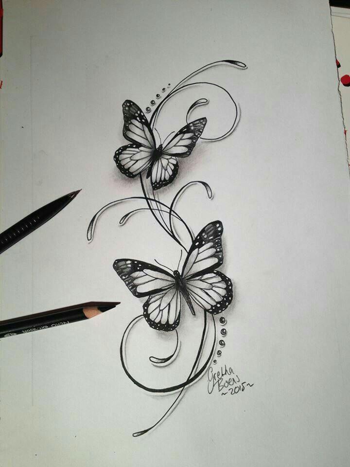 Black White Butterflies Of A Tattoo Weisser 2