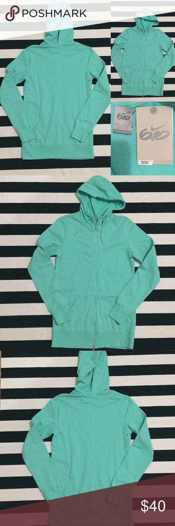 NWT[Nike] women's zip up 6.0 hoodie sweatshirt szS NWT[Nike] women's zip up 6.0 hoodie sweatshirt szS •🆕listing •NWT, new with tags condition •teal/mint green color •zip up style, hooded, 2 front pockets •material 96% organic cotton 4% spandex, interior very soft fleece •offers welcomed using the offer feature or bundle for the best discount• Nike Tops Sweatshirts & Hoodies