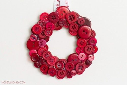 DIY Christmas Red Button Wreath - Shelterness