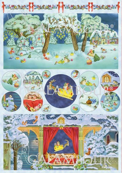 CAL 290 - Calambour Paper for classic Decoupage. Pattern : Santa Claus' arrival, trees and small snowy cottages, Santa Claus on his sleigh with reindeers, gifts and sleeping children. Details: measures 50 x 70 cm, printing on 80 gr/mq paper sheet