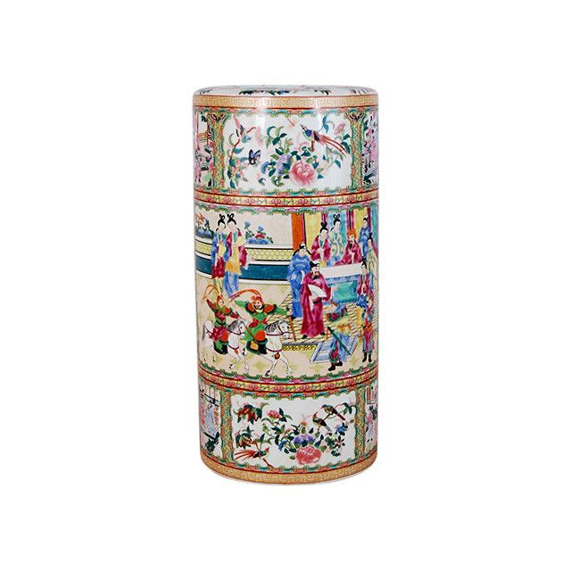"Beautiful Chinese Rose Medallion Porcelain Umbrella Stand 18"""