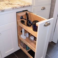 Storage solutions for beauty makeup vanity area in master bathroom built in