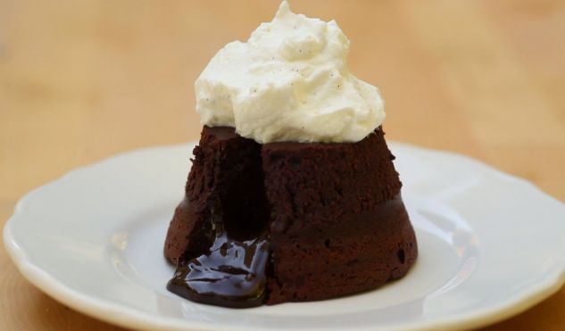 Stay Warm with Molten Chocolate Cake with Maple Whipped Cream http://gustotv.com/recipes/dessert/molten-chocolate-cake-maple-whipped-cream/