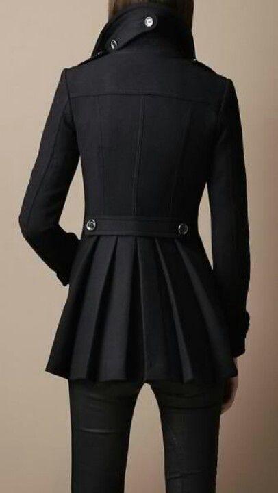 Black pea coat with pleats. Holy schnikes.