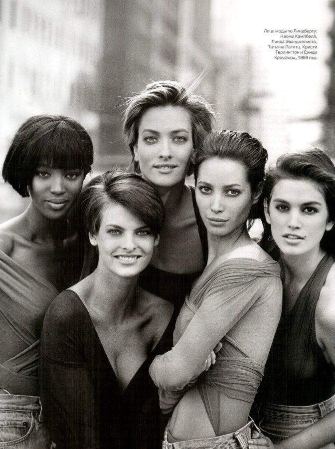 Naomi Campbell, Linda Evangelista, Tatjana Patitz, Christy Turlington and Cindy Crawford by Peter Lindbergh