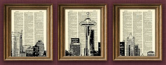 this: Wall Art, Old Book, Spaces Needle, Book Art, Seattle Skyline, Art Prints, Prints Awesome, Awesome Upcycled, Upcycled Vintage