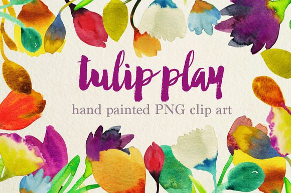 watercolor tulip clipart by cherylwarrick on @creativemarket