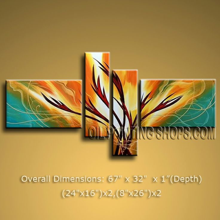 Hand-painted Tetraptych Modern Abstract Painting Wall Art Inner Stretched. In Stock $138 from OilPaintingShops.com @Bo Yi Gallery/ ops1160