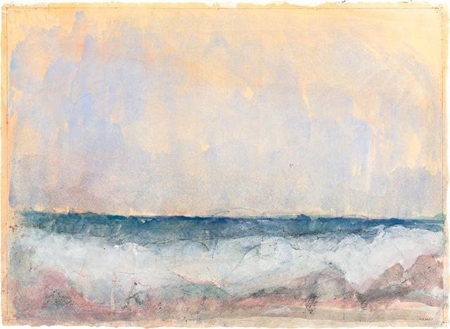 "Mary Ellen Doyle,   Atlantic Horizon, 2010  watercolor, lithopencil, gouache on glued handmade paper  22 3/4"" x 31"""