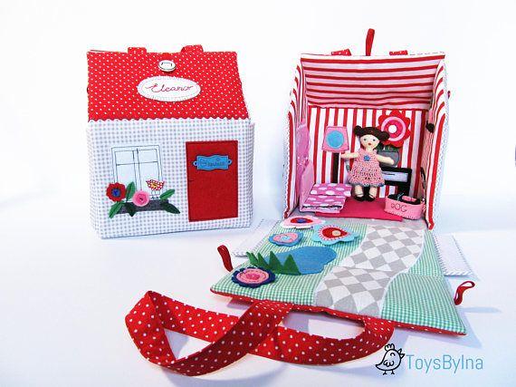 Travel dollhouse Dollhouse Fabric dollhouse Custom made #dollhouse #dressupdoll #fabricdollhouse