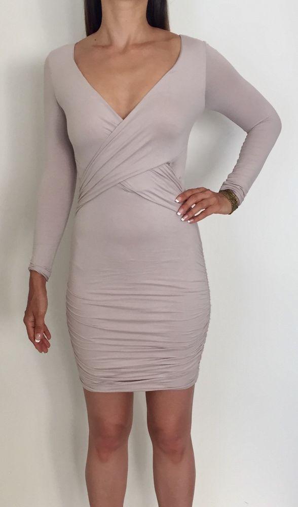 KOOKAI Nutmeg Long Sleeve Stretch Cotton Bodycon Ruched Dress Sz 2 AU 10-12    a9a88f398