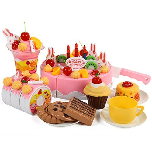Kids' Cooking Kits - Cutting Toy WOLFBUSH 75Pcs Plastic Kitchen Cutting Toy Birthday Cake Pretend Play Food Toy Set for Kids Girls  Pink ** Be sure to check out this awesome product.