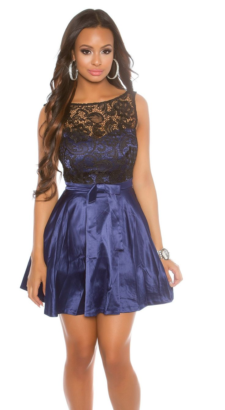 Blue cocktail dress with lace