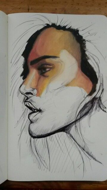 Original work. Ilandi Barkhuizen. Oil and pen on moleskin. 2015. Untitled.