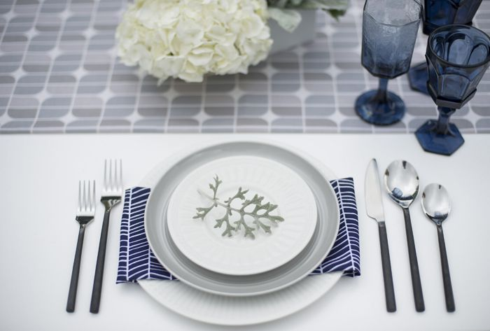 Modern Industrial Flatware, Grey Plates, Dark Blue Vintage Glassware by Set Maui wedding inspiration, Trish Barker Photography