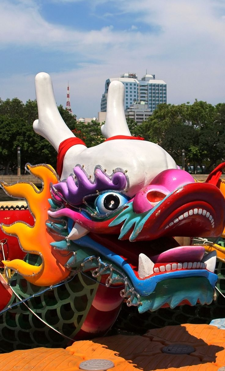Colorful dragon boats on the Love River in Kaohsiung, Dragon Boat Festival, Taiwan
