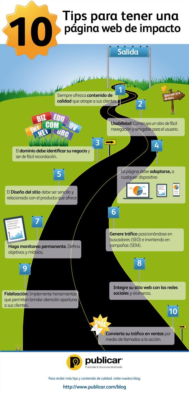 Infografía de los 10 pasos clave para tener una página web de impacto que le ayude a mejorar su posicionamiento en buscadores e incrementar sus ventas