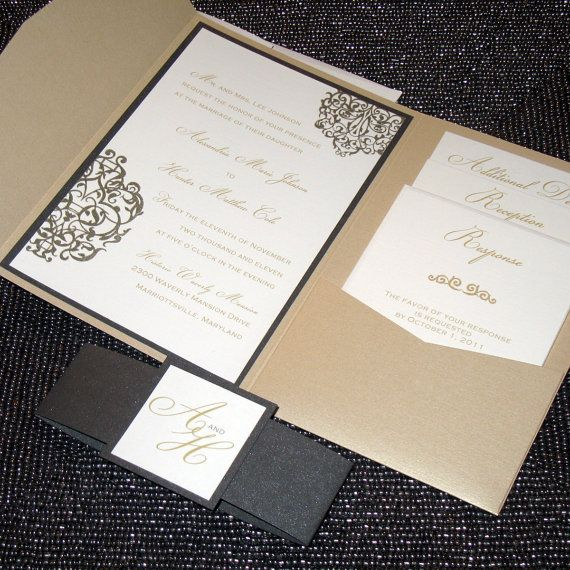 This whole packet is nice. Metallic Pocketfold Wedding Invitation  - Elegant Scrolls Sample