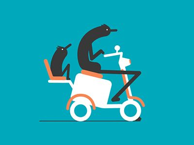Scooter Family - Animated GIF - Illustrated, Animation, Man Figures, Scooter, Bump, Road