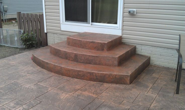 Stamped concrete concrete steps and concrete stairs on - Concrete porch steps ideas ...