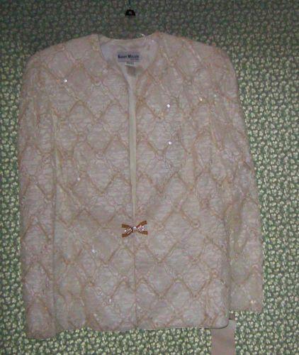 Karen-Miller-Womens-Formal-Jacket-size-16-Ivory-Sequined-Vintage-80s-Crowleys