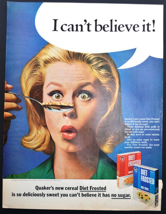1965 Quaker Cereal Diet Frosted Vintage Print Ad - Elizabeth Montgomery - I Can't Believe it