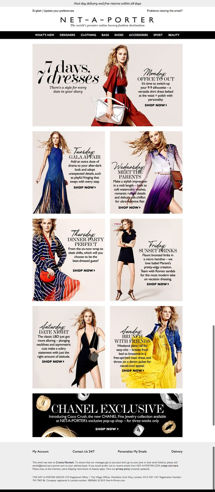 #newsletter Net a porter 04.2015 7 days, 7 dresses