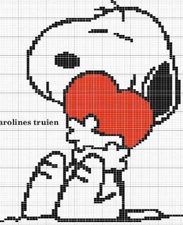 Schema punto croce Snoopy con cuore