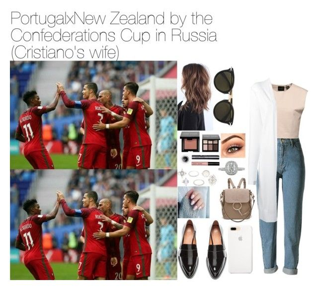 """""""Portugal x New Zealand by the Confederations Cup in Russia (Ronaldo's wife)."""" by tatabranquinha on Polyvore featuring H&M, Bobbi Brown Cosmetics, Chloé, WithChic, Puma, DKNY, Charlotte Russe, Mark Broumand, CÉLINE and cristianoronaldo"""