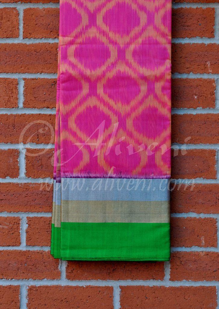 Pink Coimbatore Soft Silk Saree with Popchampally Ikat Patterns & Green/Zari Borders