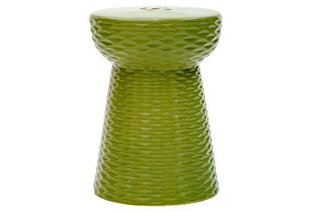 Madison Ceramic Garden Stool, Green