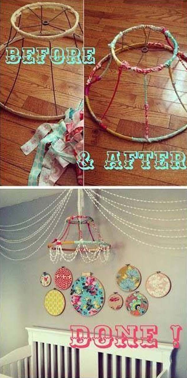 Stripped Lampshade Chandelier | 26 Cute Ideas To Add Fun To a Child Room