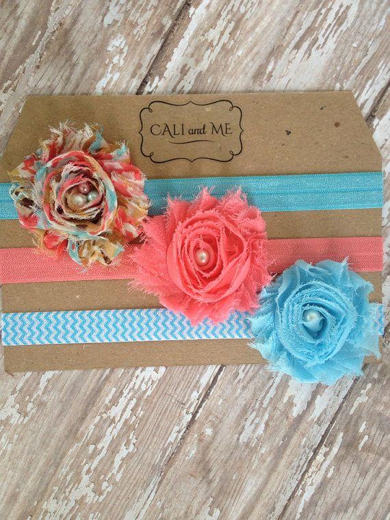 Headband Package of 3. Baby Headbands. Coral and Blue. Shabby headband