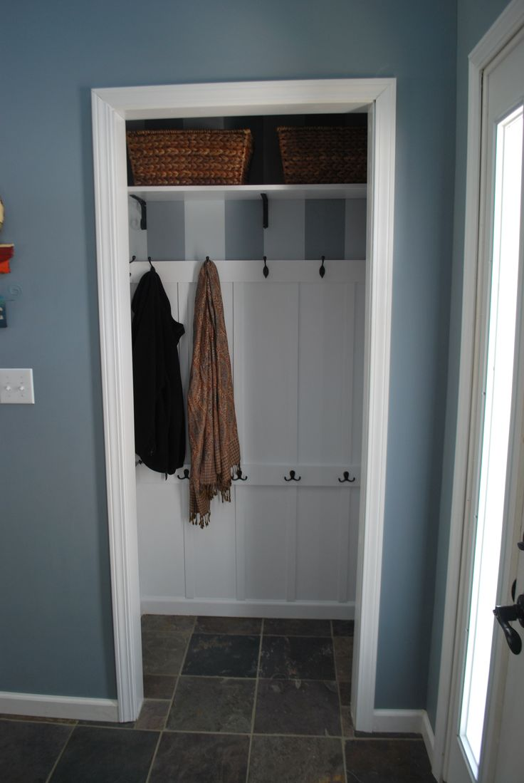 "Turned front hall closet into Entryway ""mudroom"" for less than 75 dollars....saw this over and over on Pinterest - GREAT idea!"