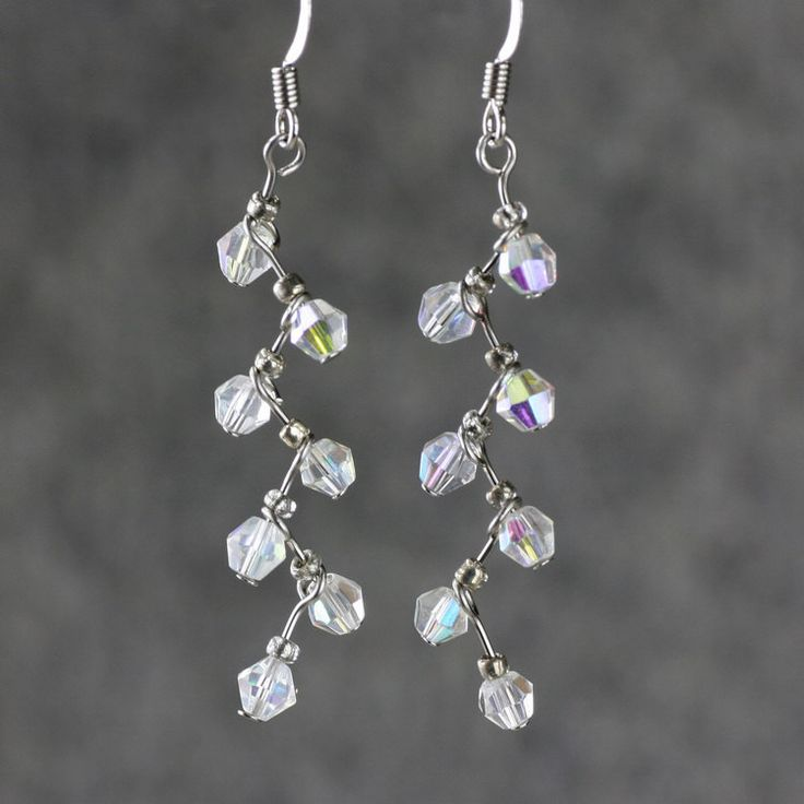 # Dangle drop earrings crystal clear zigzag