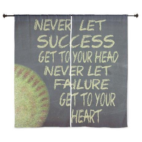 "Success Fastpitch Softball Motivation 60"" Curtains"