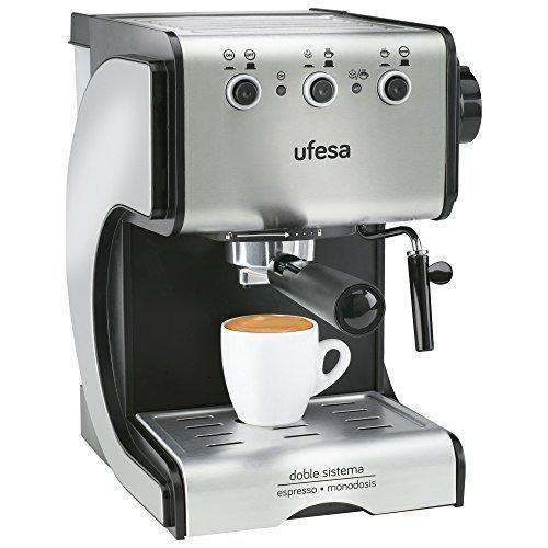 Oferta: 63.2€ Dto: -42%. Comprar Ofertas de Ufesa CE7141- Cafetera espresso, 1050 W, 2 tazas, capacidad de 1,5 l, color plata y negro barato. ¡Mira las ofertas!