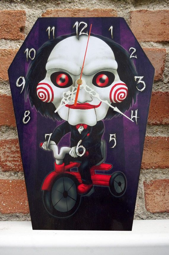 Wooden wall coffin-clock -Jigsaw-Saw movies. Handmade wall clock. Coffin shaped. Gothic decoration. Horror film clock by Villaoscura on Etsy https://www.etsy.com/listing/480666812/wooden-wall-coffin-clock-jigsaw-saw